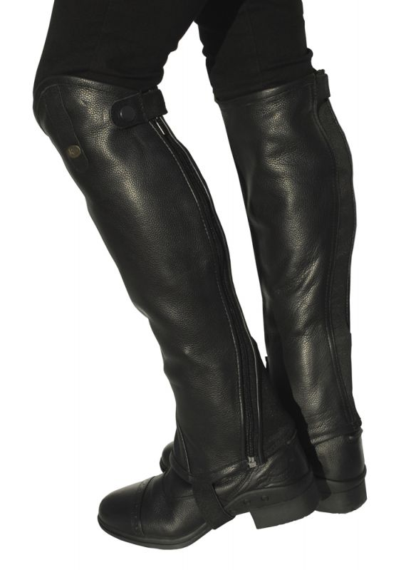 Rhinegold 'Elite' Curved Zip Leather Gaiters