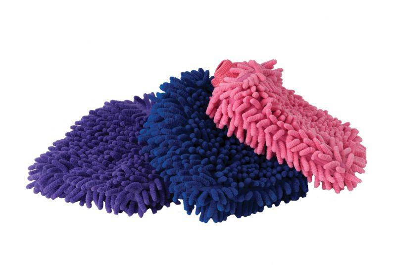 Harlequin Chenille Grooming Mitts