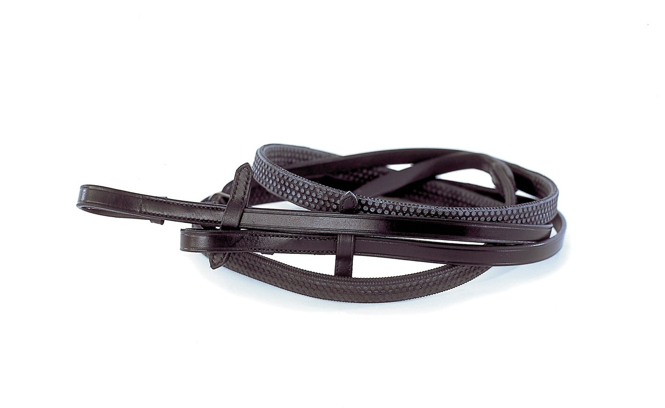 Rhinegold German Leather Rubber Covered Reins